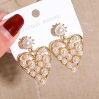Korea Style Cute Sweet Heart Imitation Pearl Retro Metal Hollow Out Drop Earrings For Women Girl Fashion Jewelry Accessories Dangle & Chande
