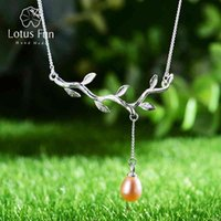 Lotus Fun Real 925 Sterling Silver Natural Pearl Fine Jewelry Waterdrops from the Olive Leaves Necklace with Pendant for Women