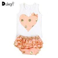 Born Baby Girl Cute Polka Dots 2pcs Infant Toddler Ruffles Short And Heart T-shirt Set Little Clothes Clothing Sets