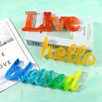 FAI DA TE Epossidiche Resina Stampo Parola Ciao Love Live Blessed Crystal Epoxys Stampo Handmade Ornamento da uomo per la casa Decor ZZE5364