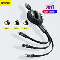 Baseus 3 in1 USB C Cable For iPhone 11 12 66W Fast Charger mobile phone Retractable Data For Huawei Micro USB