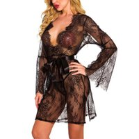 Bras Sets Sexy Lingerie Women Lace Porno Sleepwear See-through Robe Long Sleeve Dress Erotic Thong For V Neck Ladies