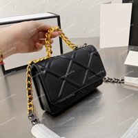 2021 19 Series Double Quilted Bags Classic Mini Flap Wallet With Chain Tites Crossbody Shoulder Purse Card Holder France Women Lady Clutch Vintage Handbags 19C