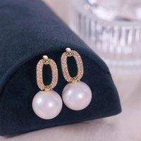 Stud Korea Trendy Zircon Stone Crystal Earrings For Women Elegant Round Imitation Pearl Brincos Wedding Jewelry Gift