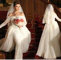 Vestido De Noiva Sheath Wedding Dresses 2015 Sweetheart Neckline Lace Tulle Long Sleeves with Court Train