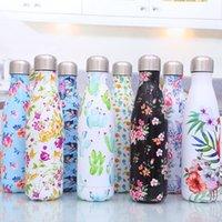 زجاجة ماء الفولاذ المقاوم للصدأ المطبوعة الزهور مزدوجة الجدار معزول المعادن كولا الشكل بهلوان للشراب البارد الدافئ - BPA زجاجات السفر المجانية مع غطاء مقاوم للتسرب
