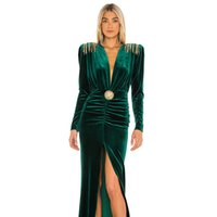 2022 Dark Green Long Sleeve Evening Dresses V Neck A Line Party Prom Gowns Red Carpet Dresses