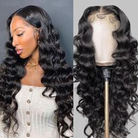 Alinybeauty Raw Virgin Brazilian Human Hair Wig Swiss Pre Plucked Lace Closure Wigs Loose Wave 30 Inch 6X6 4X4 5X5 Transparent Hd Lace Closure Wig