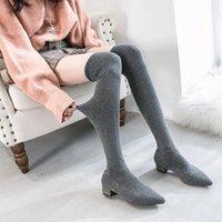Schöne neue mode frauen über den stiefeln high heels winter europa stil glänzende schuhe frau sexy damen elastische stoff kleid boot combat boot t8jc #