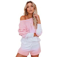 Sping Women' s Casual Loose Shorts Long- Sleeved Top Two-...