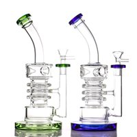 2021 the latest hookahs 14mm female three circles and two peaks style glass bong for smoke colorful dab rig