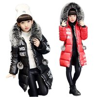 Mode Mädchen Daunenmantel Cool Brief Pelz Kapuze Long Down Manteljacke für 3-12Years Mädchen Kind Kinder Winter Mantel Kleidung Oberbekleidung
