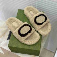 2021 zapatos top de lana Desininer Invierno Deslizadores de peluche interior HOTEL CALIENTE Sandalias de piel de zorro para mujeres Diapositivas de calidad con caja Tamaño 40