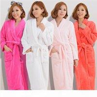 Kadın Erkek Flanel Banyo Robe Pijama 2018 Sonbahar Kış Katı Peluş Çift Bornoz Kalın Sıcak Kadın Robe Dropshipping