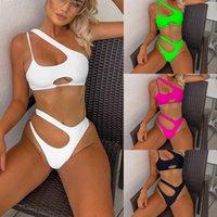 Moda casual mujer estiramiento bikini irregular hueco hacia fuera sostén acolchado sexy pantalones cortos de 2 piezas Juego de playa Sunbath Swimsuits 2021 Verano