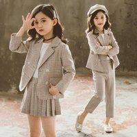 Мода девушка нарядов осень зима топы юбка AMP пастдички детские дети формальные подростки плед куртка блейзер детская одежда
