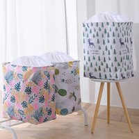 Large Capacity Cube Folding Laundry Basket Dirty Clothes Toy Quilt Storage Box Drawstring Bag Organizer Bucket Bin Picnic Baskets Stand Handle Dust Proof JY0591