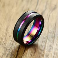 MODYLE 2020 Noir Bague de mariage en carbure de tungstène brossé pour hommes Femmes Bands de mariée Rainbow Bijoux en fibre de carbone