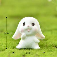 Pâte mignon Pâques Miniature Résine Artisanat Mini Bunny Orny Ornyy Fairy Garden Fournitures Accueil Figurine Animal Garden Ornement CCF5161