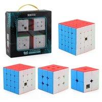 4pcs Speed Cube Set Moyu Mofangjiaoshi 2x2 3x3 4x4 5x5 Meilong Magic Cube Pyramid Skew Megaminx SQ1 Imballaggio Eonal Giocattoli 210804