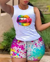 Women's Tracksuits Two Pieces Suit Summer Women Outfit Holiday Lip Print Tank Top & Ink Splash Drawstring Shorts Set Clothing 2021