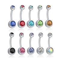Belly Jewelrysbell Jóias de Aço Inoxidável Botão Do Ninguém Anéis De Cristal Rhinestone Piercing Barras Mulheres Moda Corpo Gota Entrega 2021 E