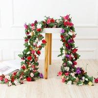 Decorative Flowers & Wreaths 250CM Rose Artificial Christmas Garland For Wedding Home Room Decoration Spring Autumn Garden Arch DIY Fake Pla