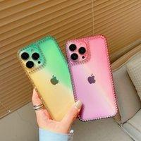 Transparent TPU Cases Gradients Cover Diamond For iphone13 12 12Promax 11 X XR XSMAX 8PLUS 7PLUS 6Plus 8 7 SamsungA12 A32 4G A52 A72 A02S A03S A22 M32 A02 EU Xiaomi
