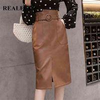 Réplise automne automne hiver cashes femmes cuir cuir maine jupes midi à la taille haute genou genou enveloppement jupes avec poche Saia femelle 210323