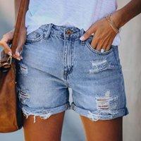 Женские джинсы моды мода женские карманные голубые джинсовые короткие женские отверстия дна Harajuku повседневная панталон налейте Femme 2021 # T2Q
