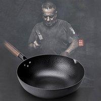 Pans Handmade железный горшок 32см безразрешенного здоровья WOK без пачкой PAN газовая плита деревянная крышка литой жарить не
