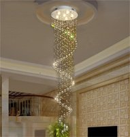 Modern and simple LED crystal chandelier hotel duplex staircase crystal ceiling lamp spiral long hanging wire pendant lamps