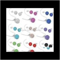 بيع 10 ملليمتر klhsf مزيج اللون أسود أبيض أزياء كريستال shamballa مجموعة قلادة ترصيع القرط مجوهرات C016 nleid أقراط vdlx2