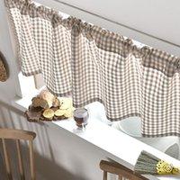커튼 드레이프 얇은 얇은 면화 린넨 그리드 짧은 로마 창 홈 거실 장식 주방 카페 격자 무늬의 장식 보일