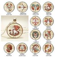 Zespół zodiaku Naszyjnik Handcrafted Art Glass Cabochon Akcesoria Biżuteria Srebrny Long Chain Constellation Naszyjnik Kobiety Prezent