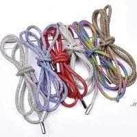 Rhinestone DIY Drawstring Trousers Rope Cap RopeS Rainbow Shoelace Bling Belt Bowknot Lazy Elastic Shoelaces Clothing Accessories DWA6325