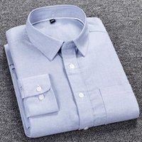 Men's Casual Shirts 100% Cotton Shirt Solid Oxford Young And Middle-aged Long Sleeve White Work