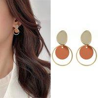 Fashion Round Dangle Drop Korean Earrings For Women Geometric Round Heart Gold Earring Wedding 2020 kolczyki Jewelry