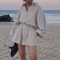 Tracksuits Msfancy Summer Two Piece Set Women 2021 Cotton Vintage Boho Oversized Shirt High Waist Loose Shorts Mujer Sets