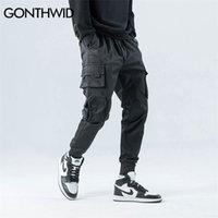 Гондидные боковые молния карманы грузовые гарема барабаны брюки мужские хип-хоп повседневные повседневные брюки хараджуку