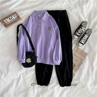 Women Two Piece Outfits Sets Clothes Long-sleeved Casual Tooling Leggings Two-piece Suit Female Student Korean Loose CN(Origin) 210727