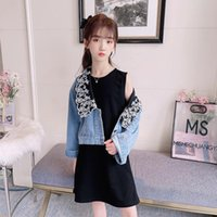 Clothing Sets Teenage Girls Outfits Embroider Collar Denim Jackets And Black Sleeveless Dress Two Pieces Spring Autumn Kids
