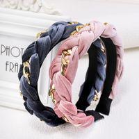 Europese en VS mode meisjes hoofdbanden brede gevlochten gedraaide ketting fluwelen haarbanden voor vrouwen groothandel haren accessoires