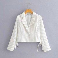 NLZGMSJ Blazer Kadınlar Beyaz Çizgili Rahat Blazer Kadın Yaz Mont Tek Düğme Ofis Bayan Kırpma Femme 202103