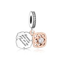 Mother' s Day Series 925 Sterling Silver Two- tone Rose D...