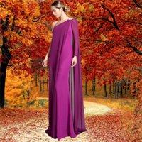 Elastic Satin Chiffon Evening Dresses Sheath One-Shoulder Floor Length Long Sleeve None Exposed Boning Prom Dress