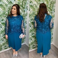 Plus Size Mother of the Bride Dresses for Wedding Party Turquoise Lace Long Sleeve Tea Length Short Column Formal Evening Gowns Custom Made