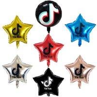 Tiktok Ballons 18 pouces Fixe à cinq pointes d'aluminium Film d'anniversaire Partie d'anniversaire Thème décoratif Parties Décorées 7Couleur GG34X5TQ