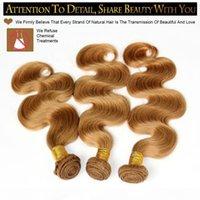 Miele Blonde 27 # Brasiliano Virgin Human Hair Capelli Tessuto Bundles Peruviano Malese Maysian Indiano Eurasian Euroasian Body Body Wave Extensions Doppi WeFts