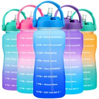 QuiFit 3.8L 2L Wide Mouth Gallon Tritan Water Bottle With Straw BPA Free My Drink Bottles Portable Sports GYM Jug Mobile Holder 210610